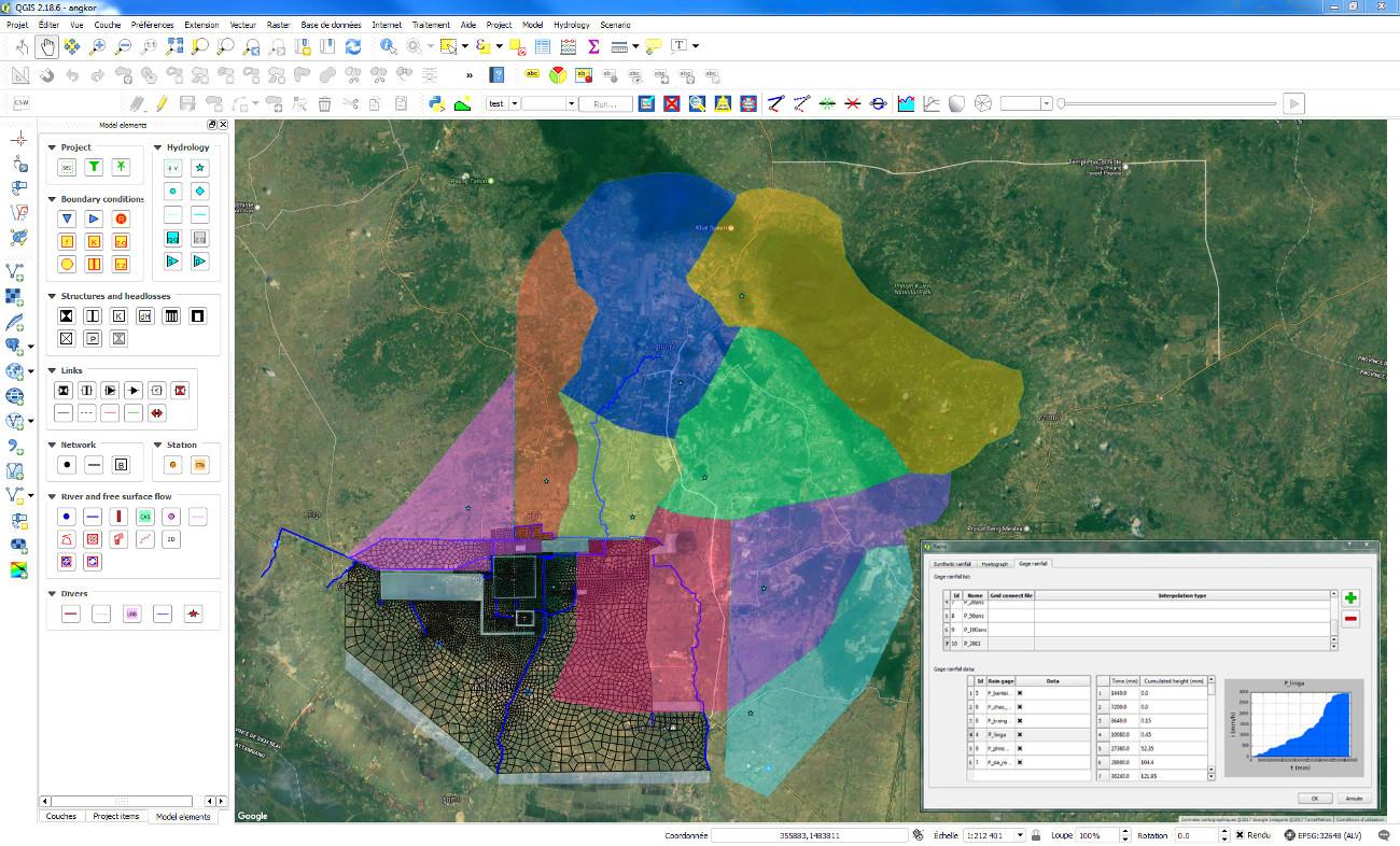 Cartographie des bassins versants et analyse hydrologique autour d'Angkor
