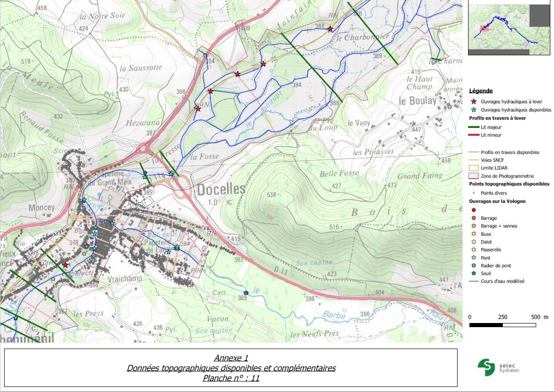Etude hydraulique de la Vologne - données topo disponibles et complémentaires