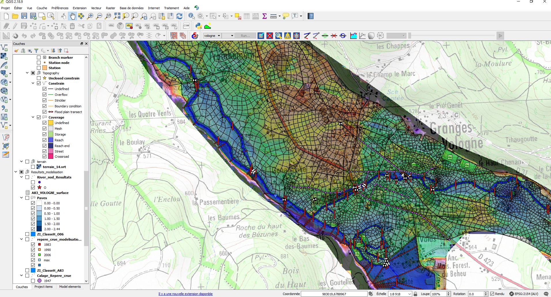 Détail du modèle numérique de la Vologne sur hydra